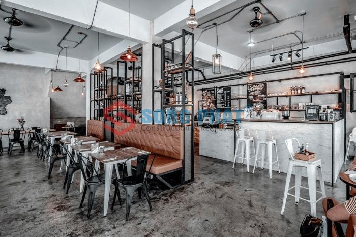 nội thất quán café phong cách industrial